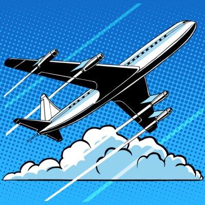 Posters Passager, avion, nuages, retro, fond