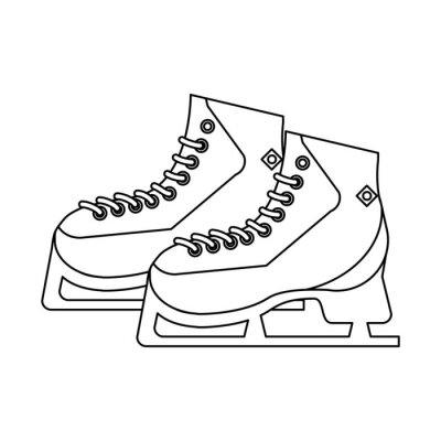 Patins à glace, équipement de sport noir et blanc