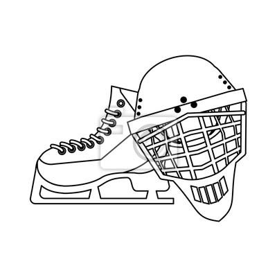 Patins à glace et équipement de masque noir et blanc