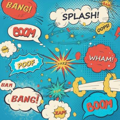 Posters Pattern comic speech bubbles in pop art style