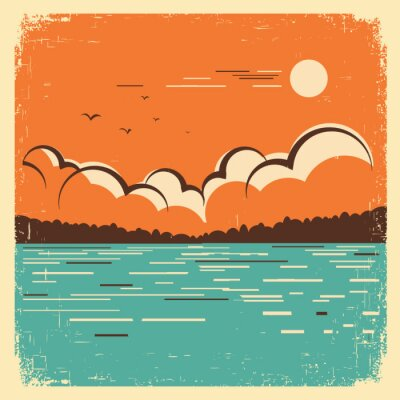 Posters paysage avec le bleu du lac Big sur vieille affiche