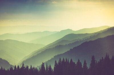 Posters Paysage brumeux de montagnes de montagne d'été.