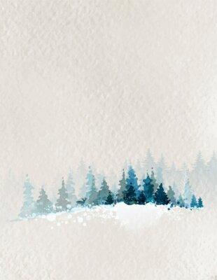 Posters paysage d'hiver avec des forêts de sapins et de cerfs
