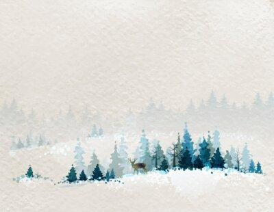 Posters paysage d'hiver avec des forêts de sapins et les cerfs