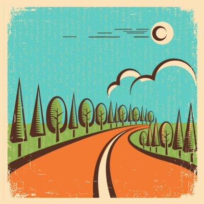 Posters Paysage de nature vintage avec la route