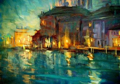 Posters paysage de nuit à Venise, peinture à l'huile sur contreplaqué, illustrant