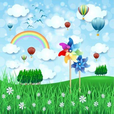 Posters Paysage de printemps avec des moulins à vent et des montgolfières