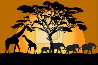 Paysage de savane avec les animaux