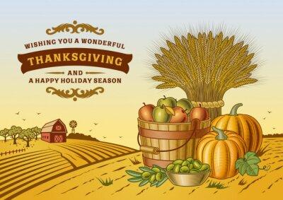 Posters Paysage de Thanksgiving vintage