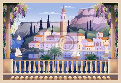 Paysage romantique méditerranéen.