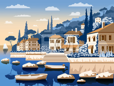 Paysage romantique méditerranéen. Illustration vectorielle de dessin à la main. Tous les bâtiments - objets différents personnalisables. Peut être utilisé pour des affiches, des bannières, des cartes