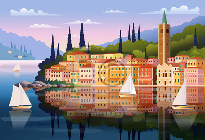 Paysage romantique méditerranéen. Illustration vectorielle dessin à la main. Peut être utilisé pour des affiches, des bannières, des cartes postales, des livres, etc.