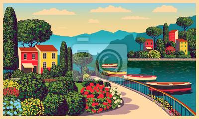 Paysage romantique méditerranéen. Illustration vectorielle dessin à la main. Tous les bâtiments - différents objets personnalisables. Peut être utilisé pour des affiches, des bannières, des cartes pos