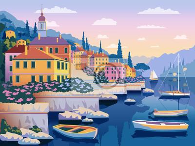 Paysage romantique méditerranéen. Tous les bâtiments - objets différents personnalisables. Peut être utilisé pour des affiches, des bannières, des cartes postales, des livres, etc.