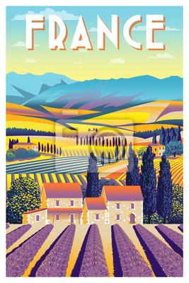 Paysage rural en jour d'été en provence, france. Illustration vectorielle dessin à la main. Affiche de style vintage.