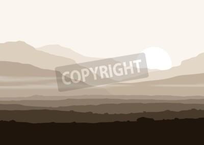 Posters Paysage sans vie avec d'énormes montagnes au-dessus du soleil. Vector panorama eps10.