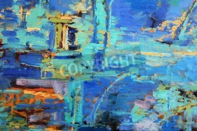 Posters Peinture à l'huile abstraite avec une prédominance du bleu