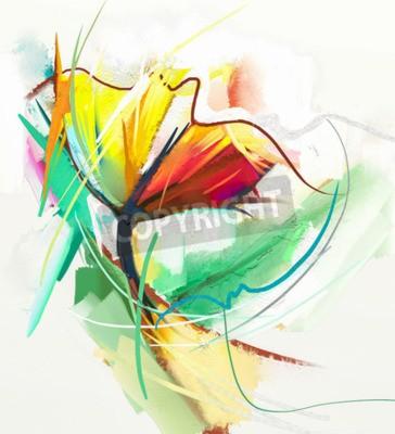 Posters Peinture à l'huile abstraite des fleurs printanières. La nature morte de la couleur jaune et rouge coule. Résumé impressionniste moderne. Peinture d'art de fleur. Peinture décorative de fleurs