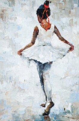 Posters Peinture à l'huile, ballerine fille. Dessinée, mignon, ballerine, danse