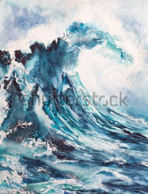 Posters peinture aquarelle vague de mer