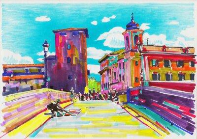 Posters peinture de marquage d'origine de Rome Italie paysage urbain