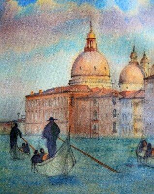 Posters Peinture de Venise en Italie, peint par aquarelle