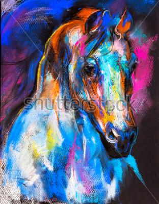 Posters Peinture pastel originale d'un cheval sur un carton. Art moderne.