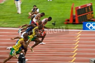 Posters Pékin, Chine - le 16 Août 2008:, Jeux Olympiques, Usain Bolt se détache dans la course de 100 mètres pour les hommes