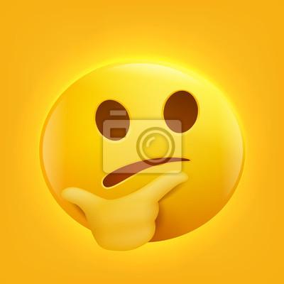 Posters Penser Le Visage Emoji Dessin Animé Personnage Smiley Jaune Visage