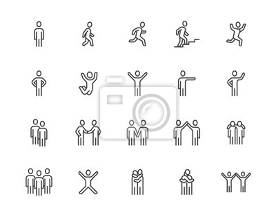 Posters People flat line icons set. Person walking, running, jumping, climbing stairs, happy man, company leader, friends hugs vector illustrations. Human outline signs. Pixel perfect 64x64. Editable Strokes
