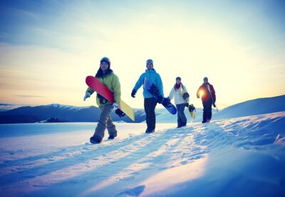 Posters People Snowboard Winter Sport Friendship Concept
