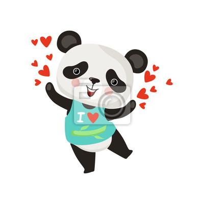 Posters Personnage De Dessin Animé De Petit Panda En T Shirt Drôle De