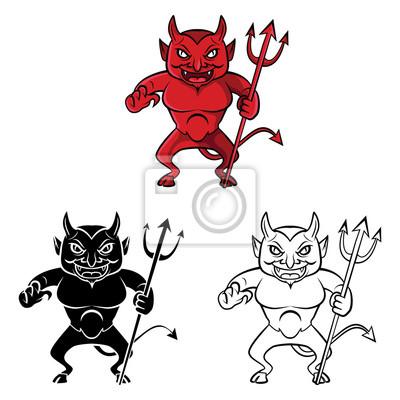Personnage De Dessin Anime Diable De Livre De Coloriage Affiches Murales Posters Scarey Satan Skittish Myloview Fr