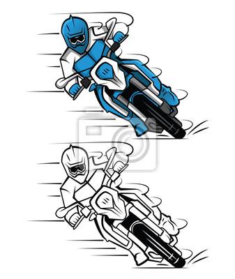 Posters Personnage De Dessin Animé Livre De Coloriage Moto Cross