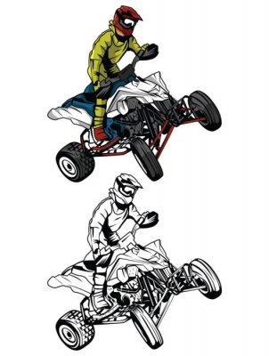 Personnage De Dessin Anime Vtt Moto Rider Livre A Colorier Affiches