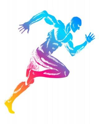 Posters Personnage haut en couleur d'un homme en marche