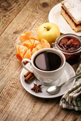 Posters Petit déjeuner avec café et fruits