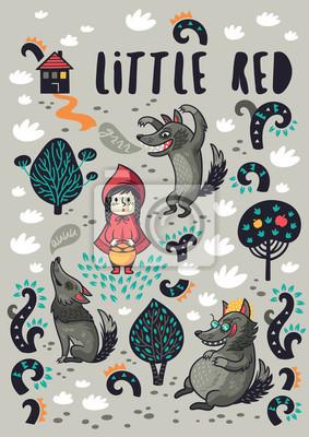 Posters Petite fille mignonne et dessin animé de loup affamé gris