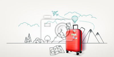 Posters Photoreal red suitcase with cityscape background. World travel vector concept