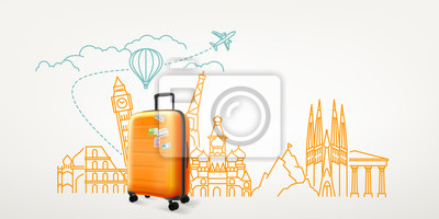 Posters Photoreal suitcase with different travel destination elements. World travel vector concept