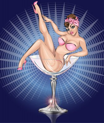 Posters Pin up fille sexy portant bikini rose dans le verre de Martini