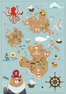 Posters Pirate map for children in a Scandinavian style. Vector illustration. Perfect for play room design and posters for your child's room.