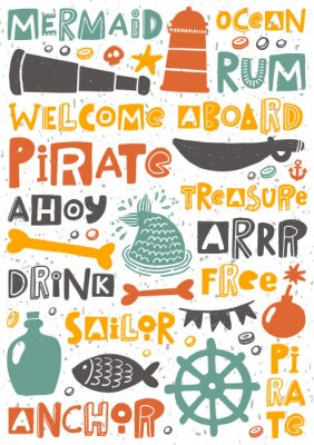 Posters Pirate party hand written lettering poster. Colorful grunge banner with ink drops and stylized phrases. Decoration print.