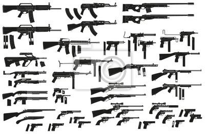 Posters Pistolets, fusils, carabines, sous-machines, revolvers et fusils de chasse, à la silhouette noire détaillée. Isolé sur fond blanc Jeu d'icônes d'armes et d'armes à feu vectorielles. Vol. 2