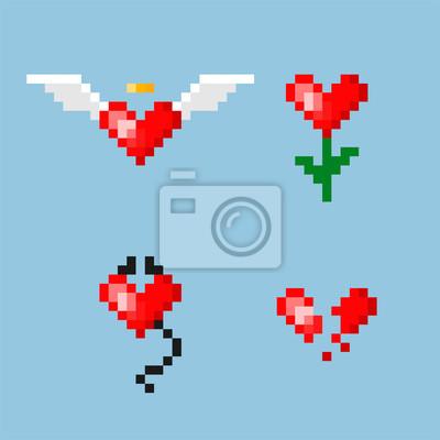 Pixel Art Coeur Avec Des Ailes Coeur Avec Des Cornes Coeur Affiches Murales Posters Nubes 8 Pixel Myloview Fr
