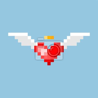 Posters Pixel Art Coeur Avec Des Ailes Dans Le Style Du Jeu De 8 Bits