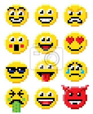 Posters Pixel Art Emoji émoticônes Set