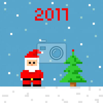 Posters Pixel Art Icône Santa Carte De Voeux De Fête Noël Et Nouvelle