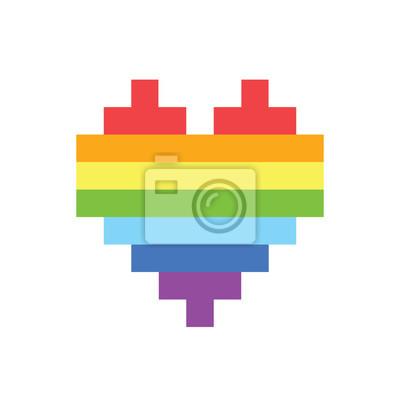 Posters Pixel Art Style Arc En Ciel Homosexuel Coeur Vecteur Signe