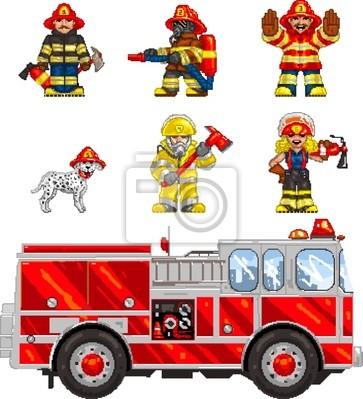Posters Pixelart Sapeurs Pompiers